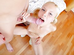 Petite teen blonde gets fingered had in HD teen sex video