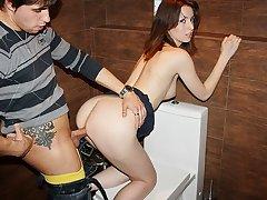 Hot teen girl strips for money